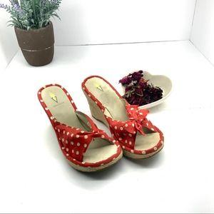 Volatile Red White Polka Dot Espadrille sandal 10